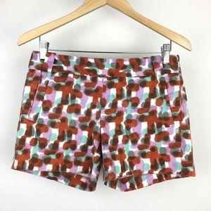 "J Crew Womens Shorts Paint Splotches 5"" Inseam"